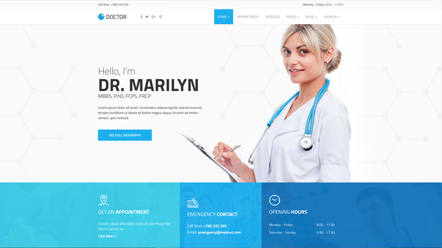 Doctor - Medical Clinic Joomla Template