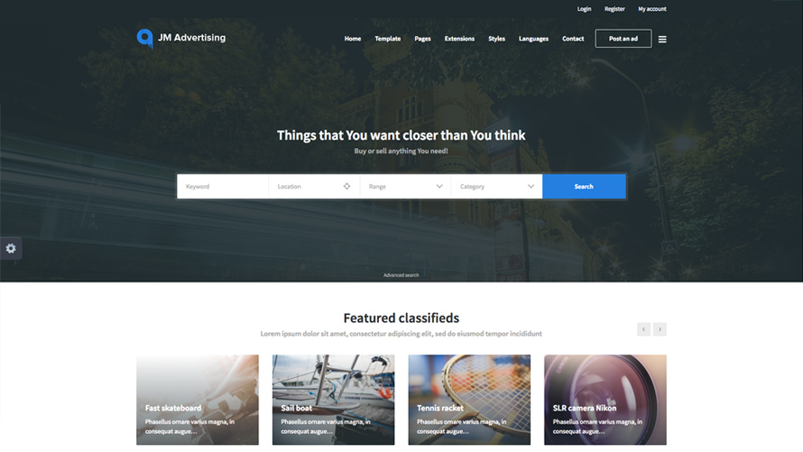 JM JoomAdvertising - Classifieds Joomla Template