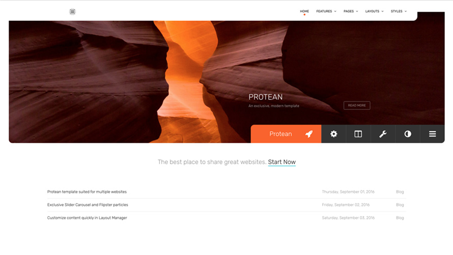 Protean  Template for Joomla